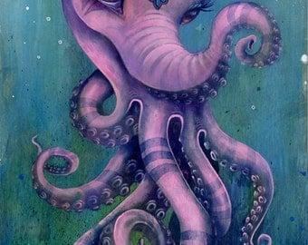 The Octophant - Giclee Fine Art Print, variable size, large art print, small art print, medium fine art print, elephant, octopus