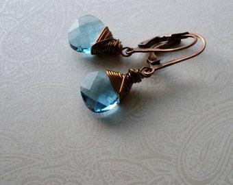 Aqua  Swarovski Crystal Flat Briolette Bronze Wire Wrapped Earrings