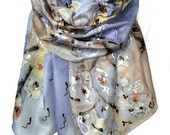 Floral Hand Painted Scarf. Lavender Blue Silk Scarf. Anniversary Birthday Gift for Her. Genuine Art. Floral Shawl. 18x71in MADEtoORDER