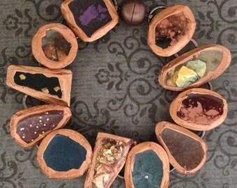 "Resin Bracelet - Copper Accents w/ Varied Colors ""Gems"""