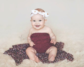 White and Gold Dot Knotted Head wrap, Boho Headband, Baby headband, Newborn headband, Infant headband, Baby turban, Head wrap, knit headband