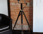 Industrial Floor Lamp from Vintage Tripod and Theater Light