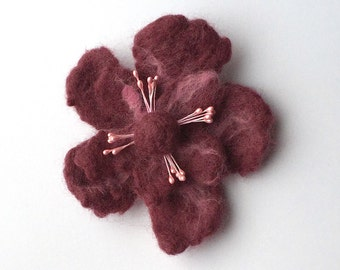 Felted flower brooch pin, felted wool flower jewelry, bordeaux red and pink, felt flower hair clip, flower felt pin, purple corsage
