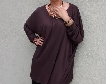 Chocolate Brown Long Sleeve, V-Neck Oversized Jersey Tunic -  All Sizes - New Colors Added