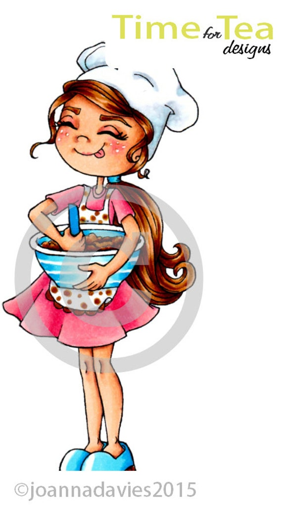 Time For Tea Designs Baker Girl Digi Stamp