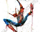 Spider Man Superhero Marvel Comic Watercolor Painting Print Spiderman