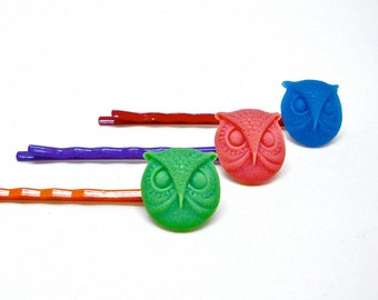 Colorful owl bobby pins, owl hair pins, colorful hair accessories, set of three bobby pins, bath n body accessories, cute hair clips