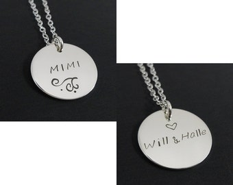 Double Sided Hand Stamped Personalized Necklace - Sterling Silver Custom Jewelry - Necklace for Mimi - Grandmother Necklace