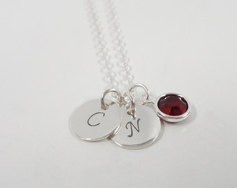 "Sterling Silver Initial Necklace - Tiny 3/8"" Initial Discs with Swarovski Pearl - 2 Initials - Hand Stamped Mommy Jewelry"