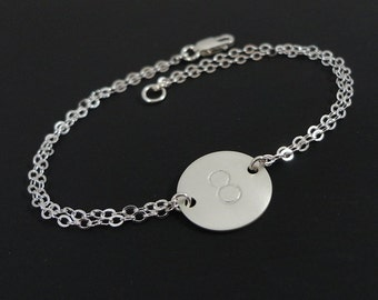 Initial Bracelet - Personalized Bracelet with Numbers or Initials - Sterling Silver Hand Stamped Bracelet - Dainty Jewelry