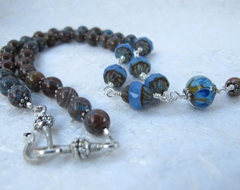 Blue Jasper and Glass Wire Wrapped Necklace