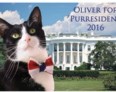 Oliver for Purresident 2016 Postcard with cat wearing a bow tie