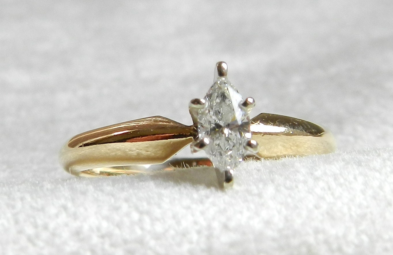 Engagement Ring Vintage 25 Ct Marquise by LoveAlwaysGalicia