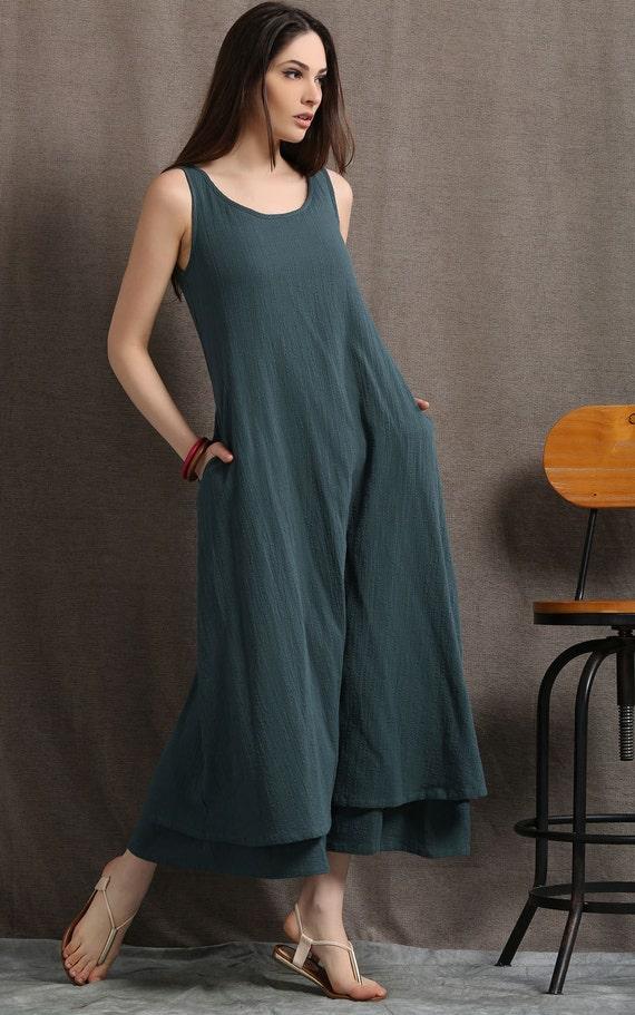 Linen maxi dress womens dresses plus size dress sage green