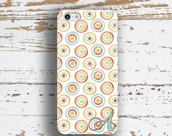 Unique gift for women, Iphone 6 Plus case, Pastel Iphone 5c case, Monogram iPhone 5 case, Womens iPhone 4 case, BFF, Coral blue gold (1347)