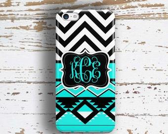 Aztec Iphone 6 case, Chevron Iphone 5s case, Tribal iPhone 5c case, Cute iPhone 6s case, Monogrammed Gift for teens, Aqua blue black  (1292)
