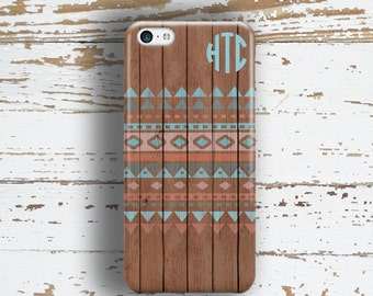Wood Iphone 6 case, Tribal iPhone 5s case, Teen's iPhone 6s case, Aztec iPhone 8 case for girls, Wood grain pattern, Pink turquoise (1256)