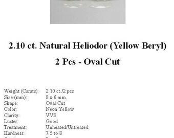 HELIODOR (Yellow Beryl) - Pretty 2.10 ct. Pair of Oval Cut Heliodor GemStones...