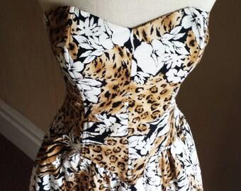Vintage Party Dress - Leopard Print and Floral - 1980s