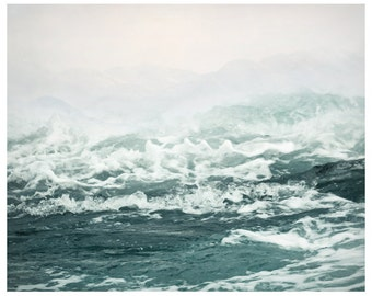 Sea print, landscape photography, ocean art, waves, photo poster, large wall art, teal white bathroom wall decor, 11x14, 12x12, 24x30, 16x20