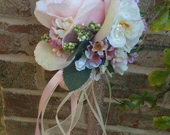Blush Pink Rose Ivory Flower Girl Wand Custom Order