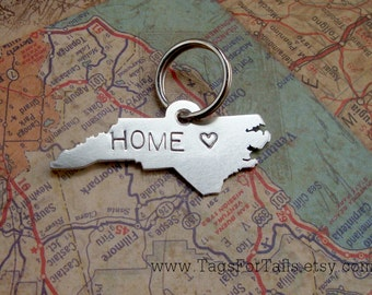 North Carolina State Keychain with your Short Message - pick your state - handmade