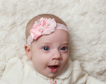 Light Pink Headband, Baby Headband, Infant Headband, Newborn Headband, Pink Baby Headband