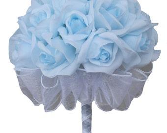 Light Blue Silk Rose Hand Tie (2 Dozen Silk Roses) - Bridal Wedding Bouquet