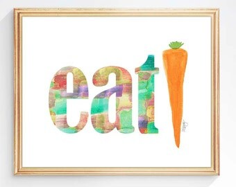 Kitchen Print, Organic Gardening, Farmers Market Art, 8x10 Watercolor Print, Eat, Typography, Modern Kitchen Decor, Eat Your Veggies