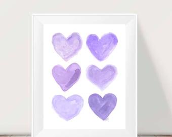 Purple Nursery Art, 11x14 Watercolor Print, Lavender Room Decor, Purple Girls Room, Lavender Nursery Decor, Purple and Gray Decor,Girls Room