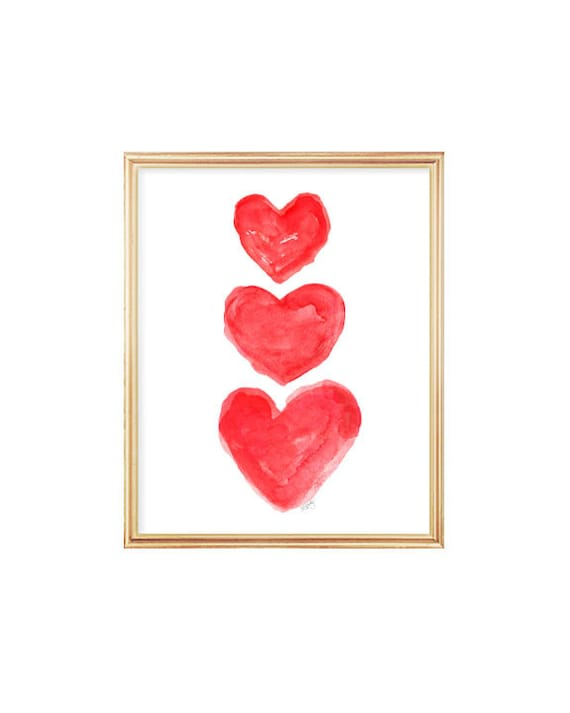 Red Hearts Art Print, 8x10 Watercolor