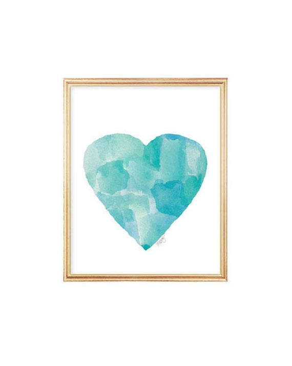 Beach Decor, Aqua Watercolor Heart Art Print 8x10, Coastal Decor, Coastal Art, Beach House Art, Beach Cottage Chic, Coastal Wall Art
