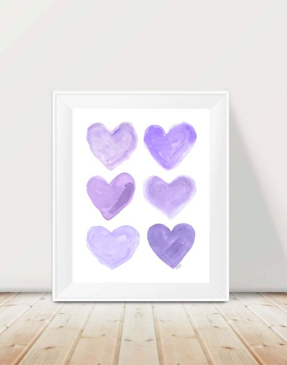 Purple Heart Collage Print for Girls Room, 11x14 Watercolor