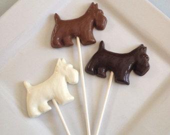 12 Chocolate Scottish Terrier Dog Lollipops Scottie Puppy Candy Party Shower Favors Animal Pet Lover