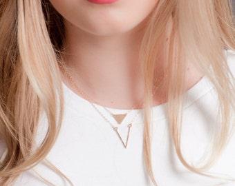 Ho'olana necklace - gold deep V necklace, gold chevron necklace, gold layering necklace, gold filled V necklace, strand necklace, hawaii
