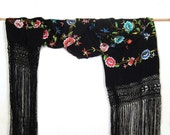 Black Piano Scarf, Embroidered Scarf, Long Fringe Scarfs, Victorian Shawl, Gypsy Wrap, Infinity Tube, Boho Shawl, Roses Floral