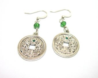 Oriental Medallion Earrings - Green Crystal