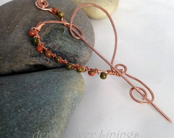 Copper and Unikte Heart Shawl Pin, Scarf Pin, Hair Accessory, Sweater Pin, Brooch, Handcrafted Hammered Copper, Fall Accessaory