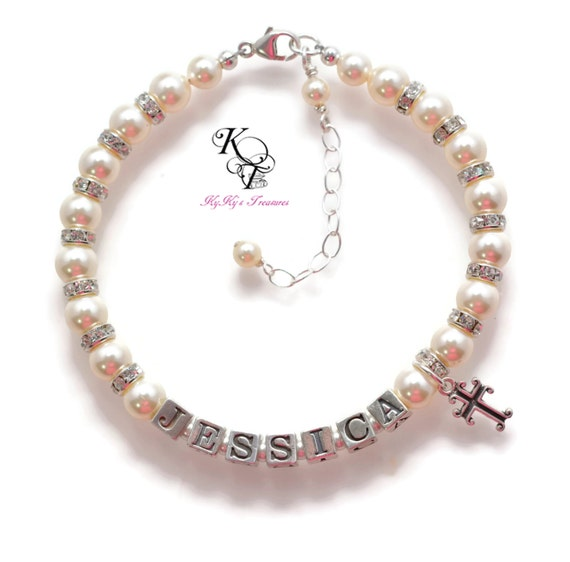 Baby Boy Gifts Jewelry : Baptism bracelet baby personalized by