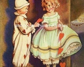 Be My Valentine, Little Boy and Little Girl,  RESTORED Antique Art - RESTORED Vintage Art - Great Print for Child's Room