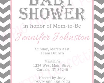 Baby Girl Gray & White Chevron Baby Shower Invitation Printable Baby Shower 5x7 Invitation