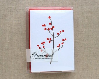 Winter Berries Letterpress Card Set