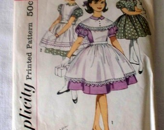 1960s Simplicity Girl's One-Piece and Pinafores Pattern - 3761 - Size 7 - Cut Complete