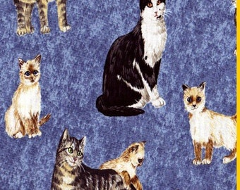 Pretty Kitty Realistic Cat Fabric ~  Cat Fabric Retired Out of Print FQ