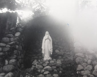 madonna in santa barbara statue black and white antique photo