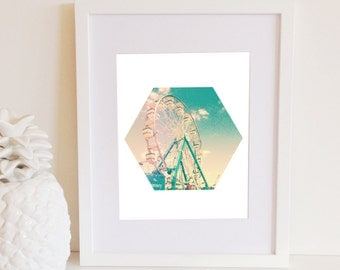Hexagon Ferris Wheel Print, Instant Download, Pink, Mint, Teal, Summer, Dreamy, 8x10, Office Gallery Wall Decor, Geometric Shape, Beach life