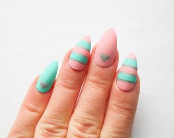 Pastel Stiletto Nails, Fake Nails, Matte Nails, False Nails, Almond Nail, Kawaii, Sweet Lolita, Hearts, Stripes