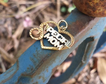 14k Yellow Gold Special Mom Heart Pendant A-270
