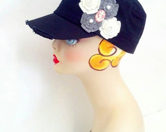 Custom Fidel Vintage Style Hat with Flowers Pink Cameo Anchor Floral Military Cadet