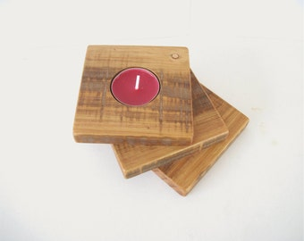 Fanned Recycled Wood Rustic Candle Holder Tiered Reclaimed Wooden Slats Upcycled Fence Tealight Candleholder
